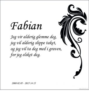 Gravsten hund Fabian