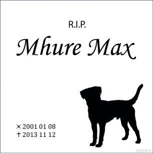 Gravsten hund RIP Mhure Max