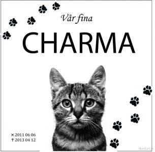 Gravsten katt Vår fina Charma