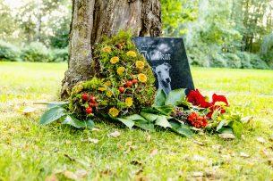 Gravplats gravsten hund Muskat