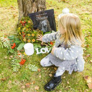 Flicka lägger blommor på gravplats hund Muskat